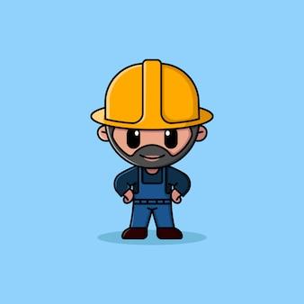 Trabajador de la construcción barbudo con mascota de personaje de logotipo de casco