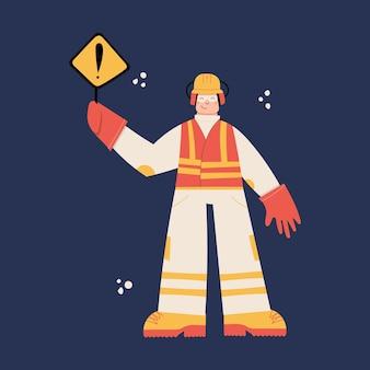 Trabajador de la construcción de carreteras con casco