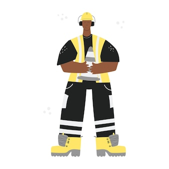 Trabajador de la construcción de carreteras o fábrica con casco