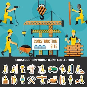 Trabajador de la construcción composición plana