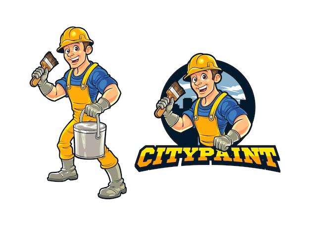 Trabajador de la construcción de dibujos animados ciudad pintor de pared personaje mascota logotipo