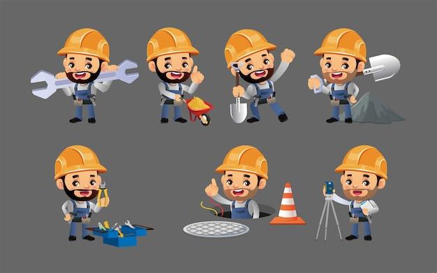 Trabajador de la construcción con diferentes poses.