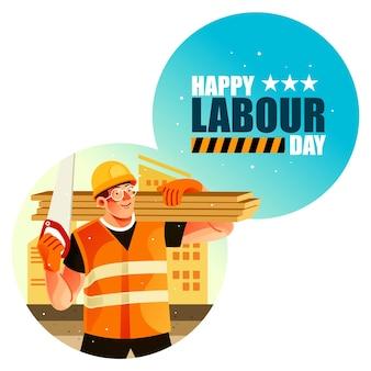 Trabajador de la construcción feliz día del trabajo