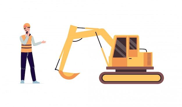 Trabajador de la construcción hombre y excavadora amarilla aislado