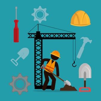 Trabajador de la construcción con iconos en construcción