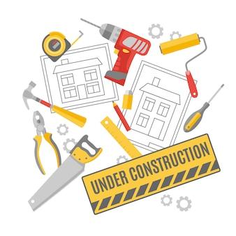 Trabajador de la construcción pictogramas composición banner
