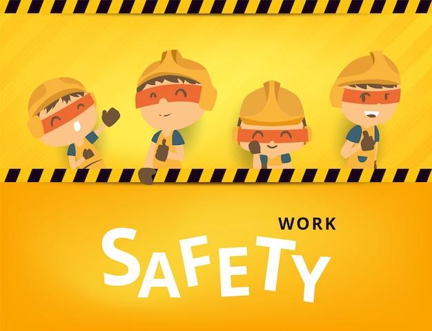 Trabajador de la construcción reparador con gran letrero, seguridad primero, salud y seguridad, ilustrador