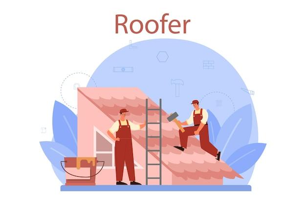 Trabajador de la construcción de techos. reparación de edificios y rehabilitación de viviendas. aplicación de teja de techo con equipo de mano de obra. hombres techadores con herramientas de trabajo.