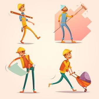 Trabajador constructor de construcción en casco amarillo uniforme en el trabajo conjunto de iconos retro de dibujos animados