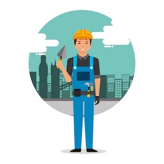 Trabajador constructor con espátula