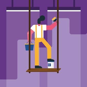 Trabajador constructor masculino remodelación de pintura en andamios, diseño de ilustraciones vectoriales