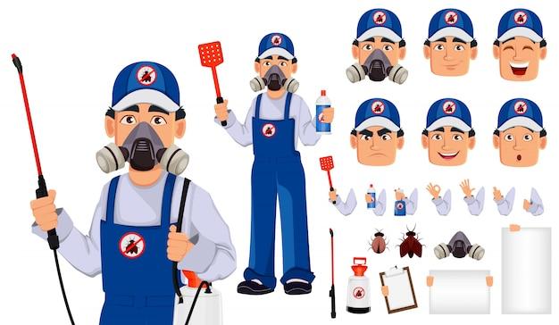 Trabajador de control de plagas en ropa de trabajo protectora
