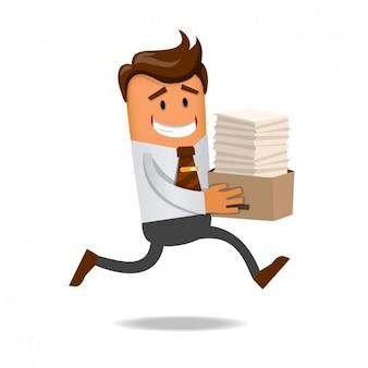 Trabajador corriendo con muchos documentos