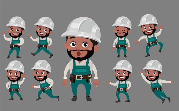 Trabajador con diferentes poses.