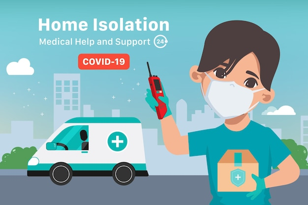 Trabajador de emergencia de aislamiento domiciliario ayuda y apoyo al paciente durante la enfermedad covid19