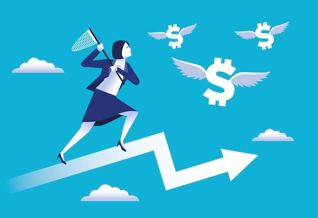 Trabajador de empresaria elegante corriendo con red en la ilustración de flecha