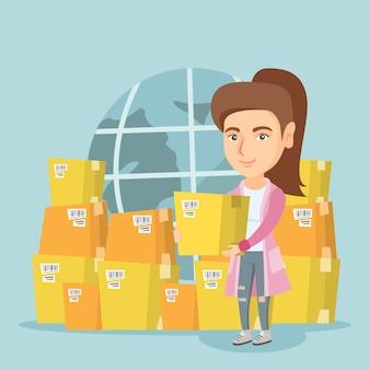 Trabajador empresarial de servicio de entrega internacional.