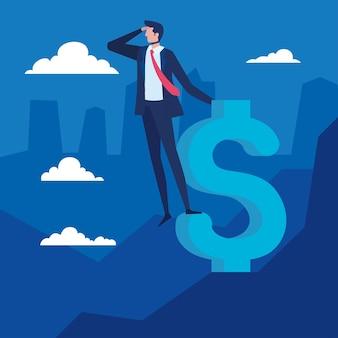 Trabajador empresario elegante mirando en diseño de ilustración de vector de símbolo de dólar