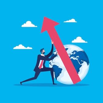 Trabajador empresario elegante con planeta mundial y flecha hacia arriba, diseño de ilustraciones vectoriales