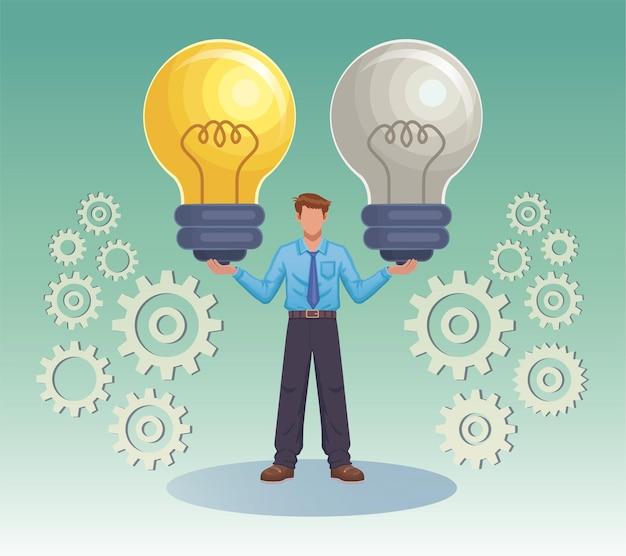 Trabajador empresario sosteniendo dos enormes bombillas idea símbolo icono ilustración vectorial plana