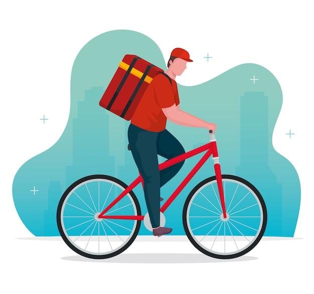 Trabajador de entrega en carácter de bicicleta