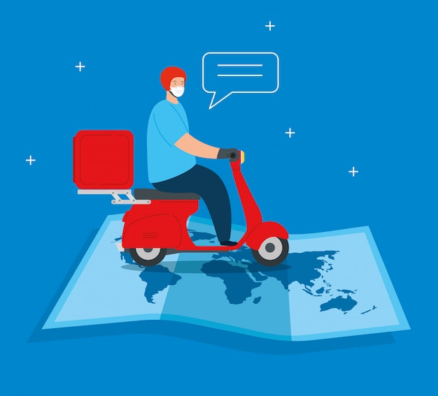 Trabajador de entrega con mascarilla en motocicleta