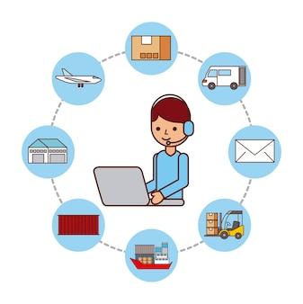 Trabajador con envío logístico de la entrega del ordenador portátil