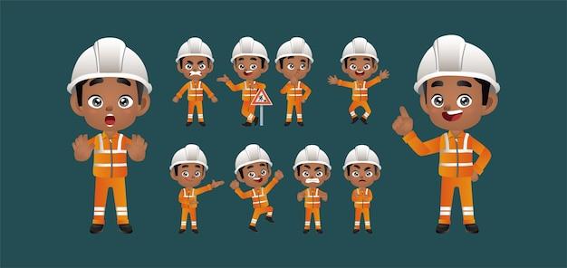 Trabajador establece diferentes poses y gestos.