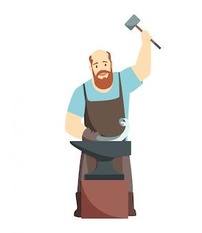 Trabajador de herrero de dibujos animados, aislado sobre fondo blanco.