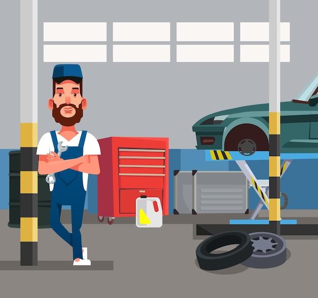 Trabajador de hombre mecánico de automóviles con llave. taller de servicio de diagnóstico de reparación de automóviles