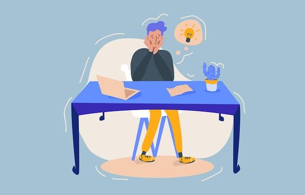 Trabajador, hombre de oficina se encuentra en una situación estresante, sentado detrás del escritorio y tratando de resolver los problemas. la medida de un plazo, la toma de decisiones difíciles.