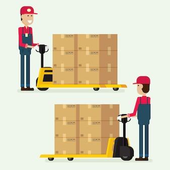Trabajador hombre remolcador mano tenedor levantador caja de carga en almacén