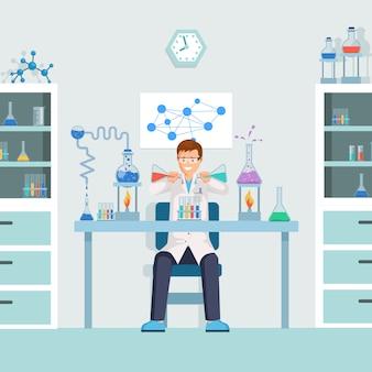 Trabajador de laboratorio mezclando líquidos en tubos de ensayo