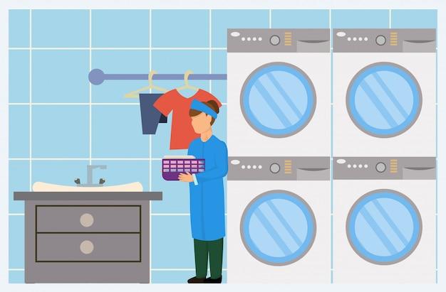 Trabajador de lavandería femenina de dibujos animados con lavadora secadora