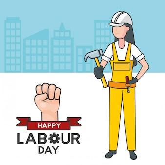 Trabajador con un martillo, edificios, ilustración