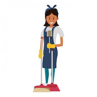Trabajador más limpio con productos y equipos de limpieza.