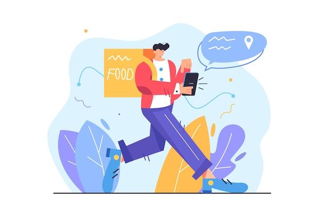 Trabajador de mensajería que entrega comida en bolsa al cliente, chico caminando en el teléfono móvil