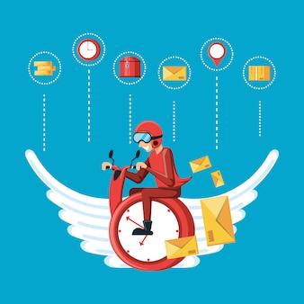 Trabajador de mensajería con servicio logístico volando reloj