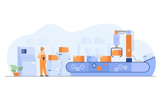 Trabajador mirando transportador con cajas aisladas ilustración vectorial plana. hombre de dibujos animados en almacén con proceso de automatización.