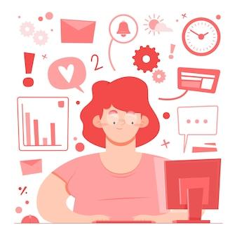 Trabajador multitarea y gestión del tiempo.