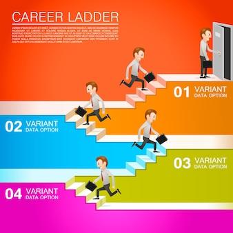 Trabajador de oficina asciende la carrera. ilustración vectorial