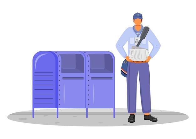 Trabajador de la oficina de correos en la ilustración de color de diseño plano uniforme de estados unidos
