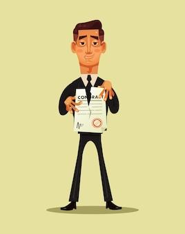 Trabajador de oficina empresario romper contrato de documento. finalización del proyecto empresarial.