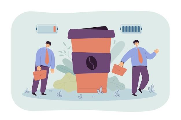 Trabajador de oficina que sufre de adicción a la cafeína. ilustración de dibujos animados
