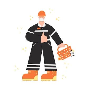 Trabajador durante la pandemia de covid con caja loto, cerraduras; etiquetas. salud y seguridad en el trabajo. epi