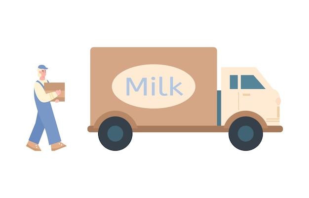 Trabajador de la planta de leche cargando productos lácteos en la ilustración de dibujos animados de furgoneta