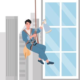 Trabajador profesional limpiando ventanas. servicio de limpieza de rascacielos. ilustración vectorial de dibujos animados