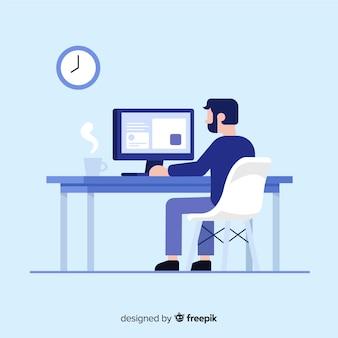 Trabajador profesional de oficina con diseño plano