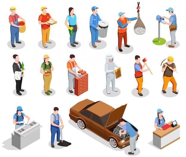 Trabajador profesiones personas isométricas