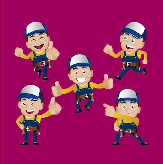 Trabajador reparador con diferentes poses